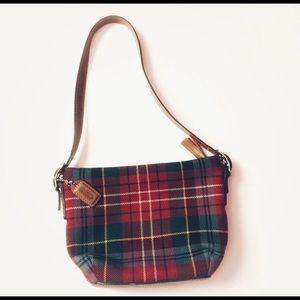 Coach red and green mini plaid tartan purse